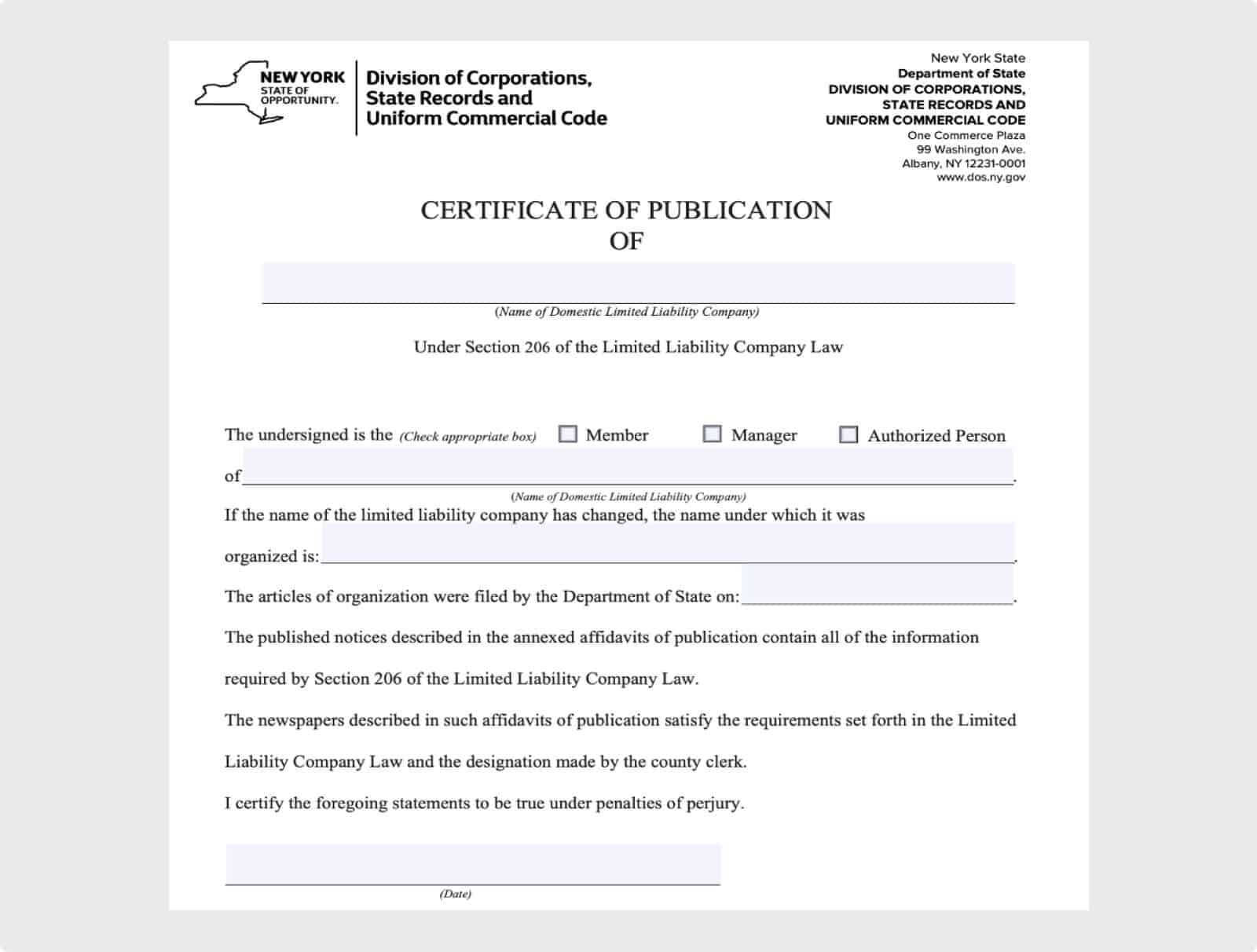 New LLCs in New York must complete the publication requirements.