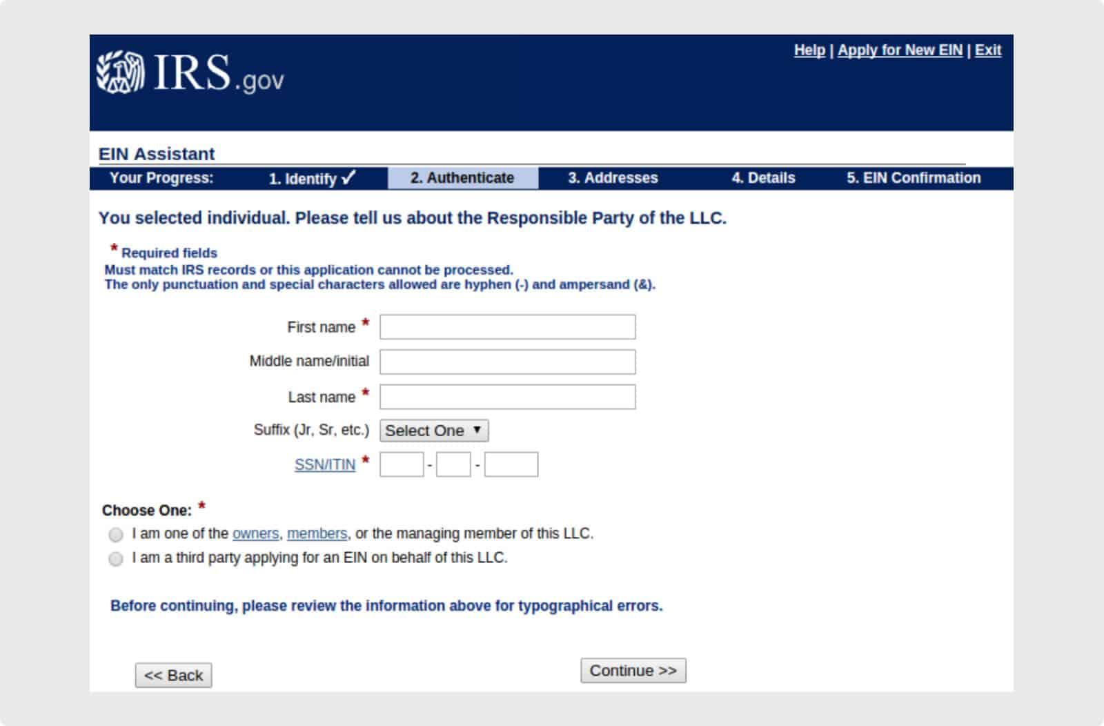 On line EIN application for LLCs