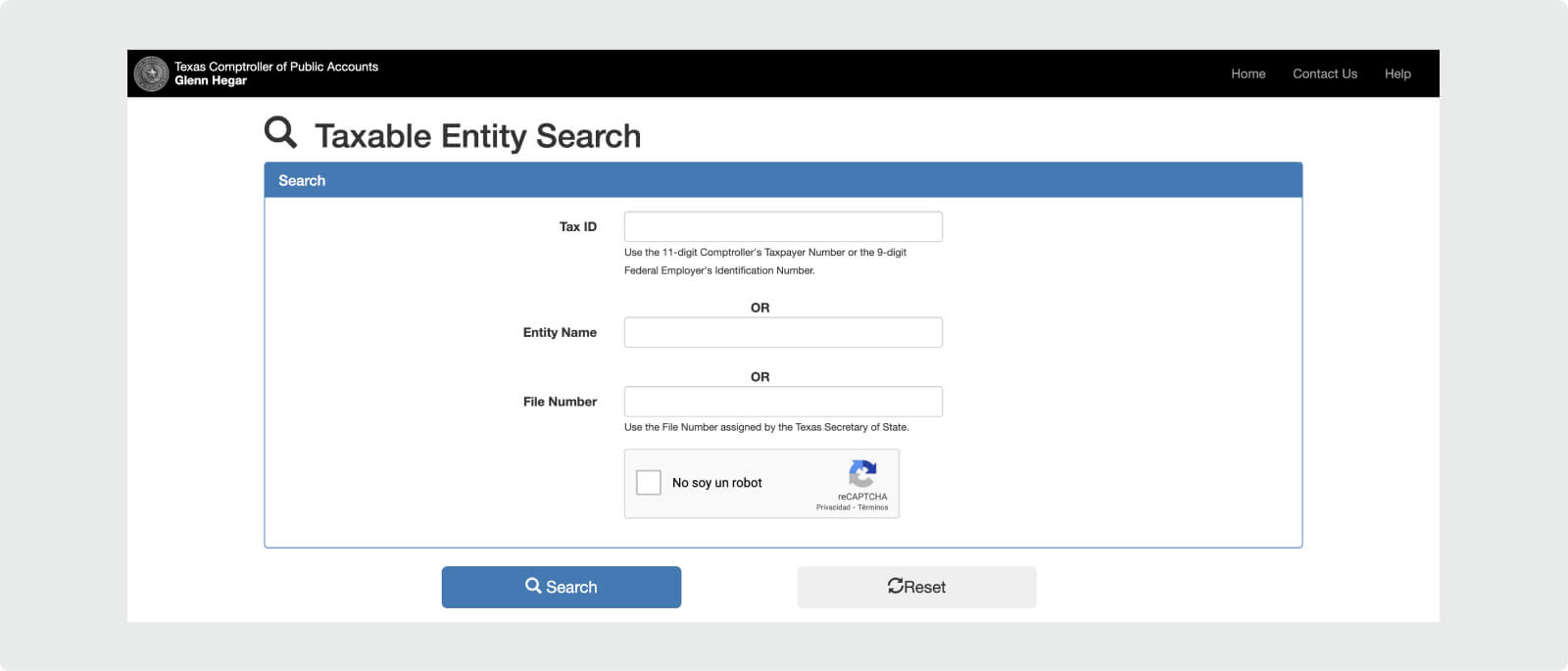 Texas Comptroller of Public Accounts Name Search.