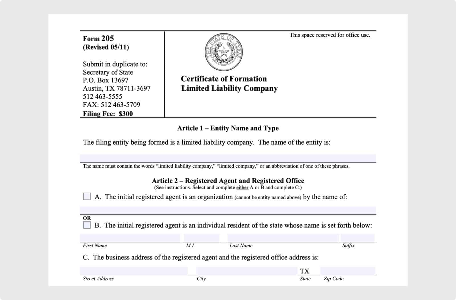 Texas Secretary of State Form 205 Certificate of Formation.