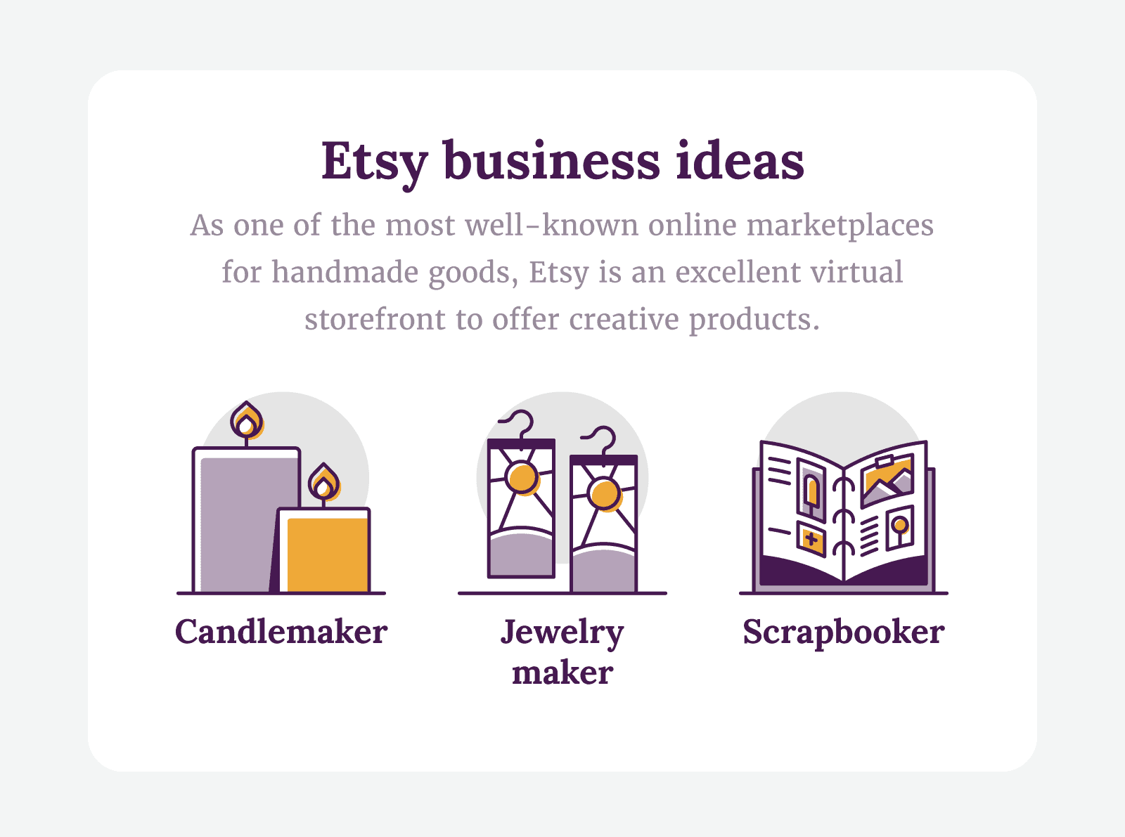 Etsy business ideas like candlemaker, jewelry maker and scrapbooker