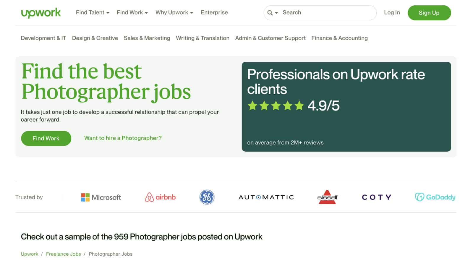 You can find photography jobs on Upwork