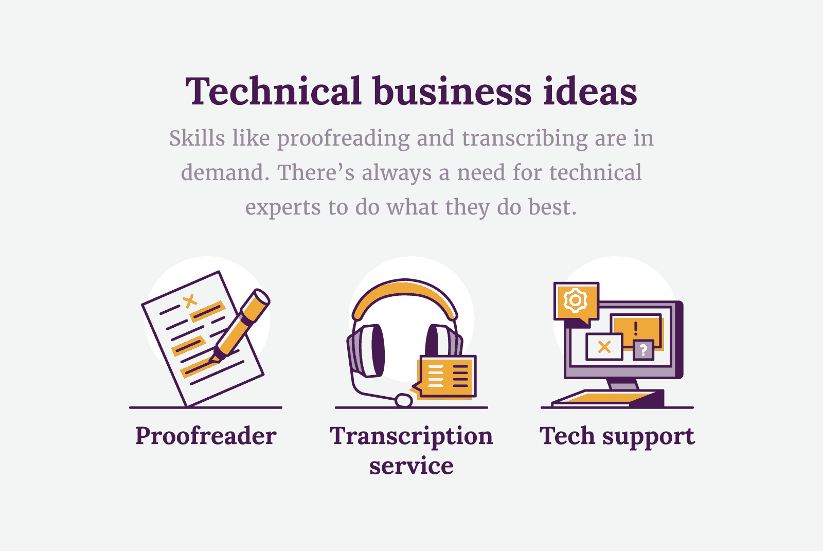Technical business ideas like proofreading, transcribing and tech support