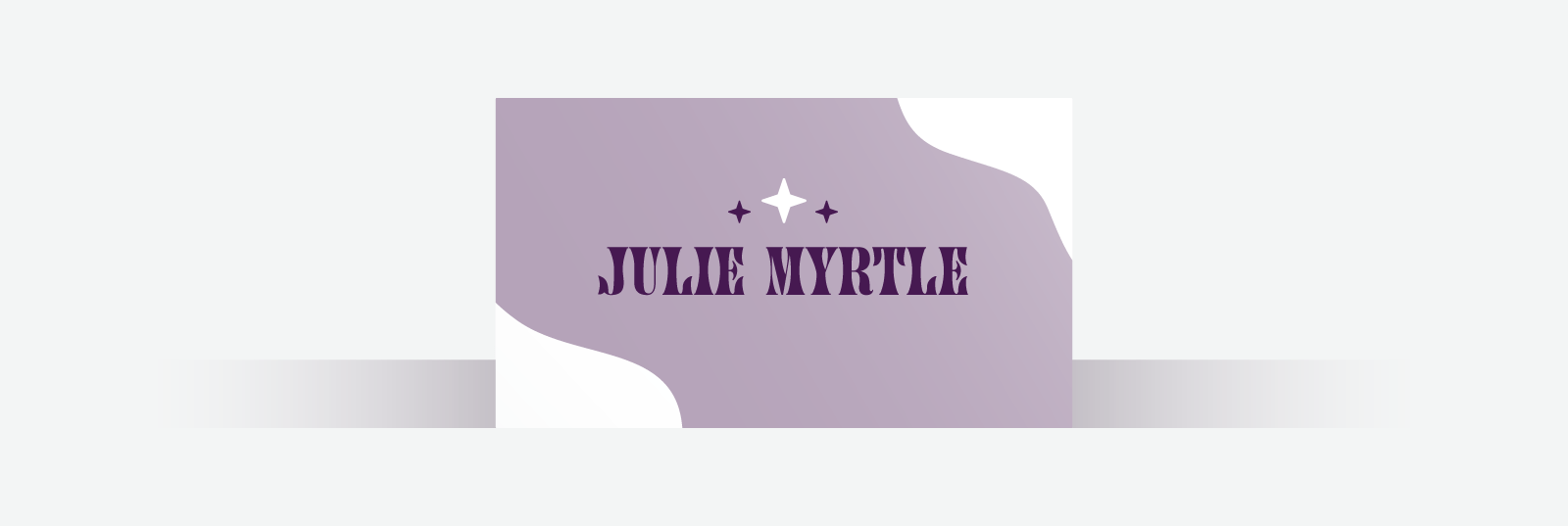 White and purple business card with artistic font and stars