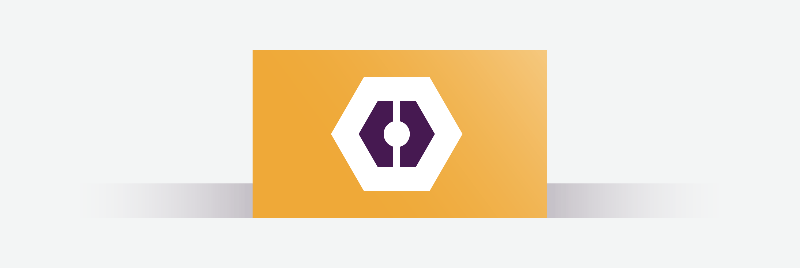 Orange business card with white and purple hexagon in the middle