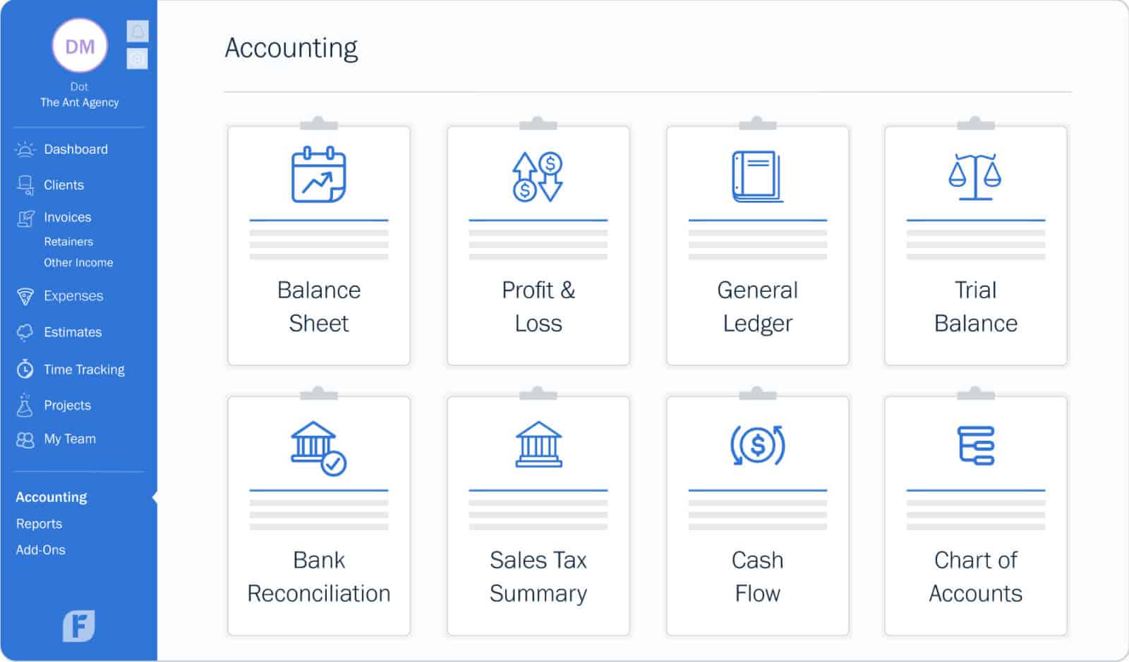 With FreshBooks, you can easily stay atop your P&L management, quickly generate balance sheets, and enjoy a stress-free tax season.