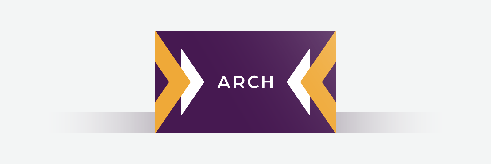 Dark purple business card with orange and white geometric shapes