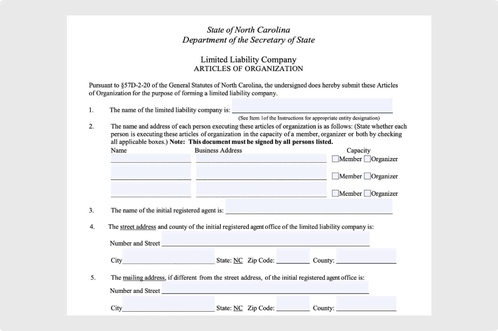 Article of Organization Form in North Carolina