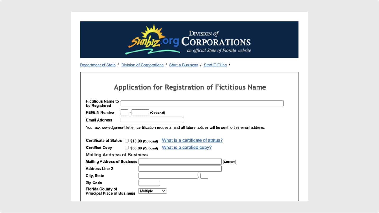 Florida Sunbiz Fictitious Name Registration