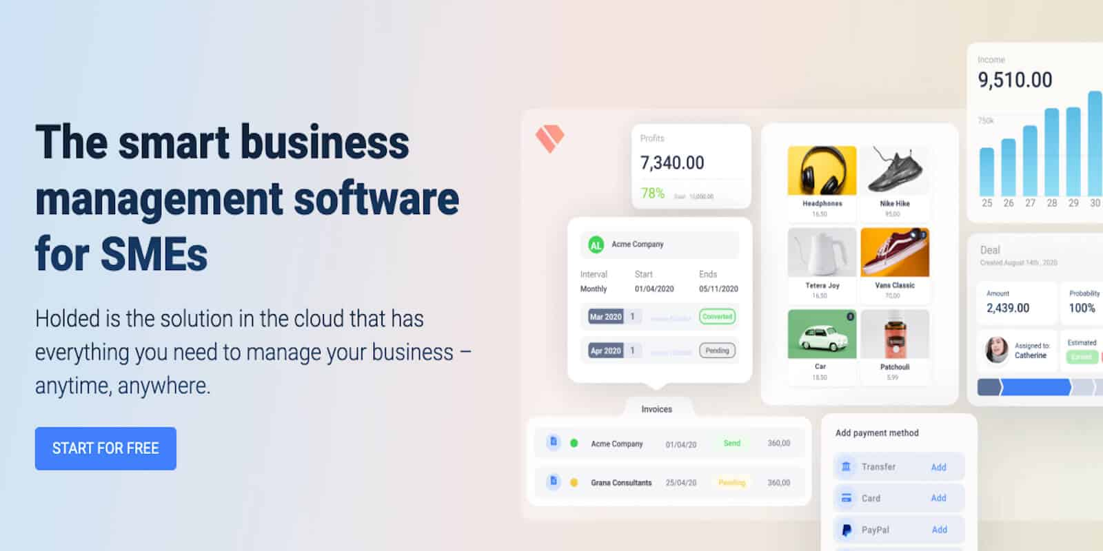Holded offers a comprehensive kit of business management software for an affordable monthly fee