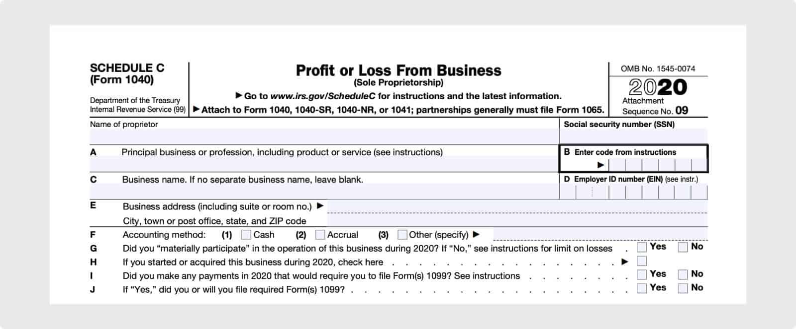 IRS form Schedule C