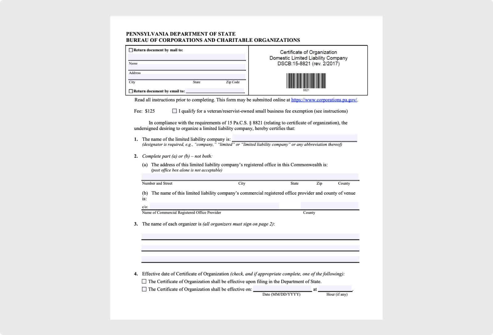 Sample PA LLC Certificate of Organization Form
