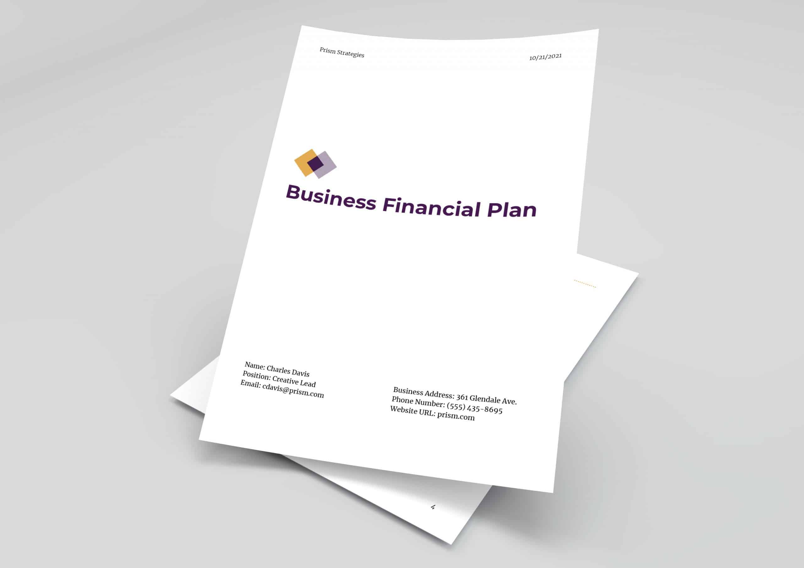Business financial plan template preview