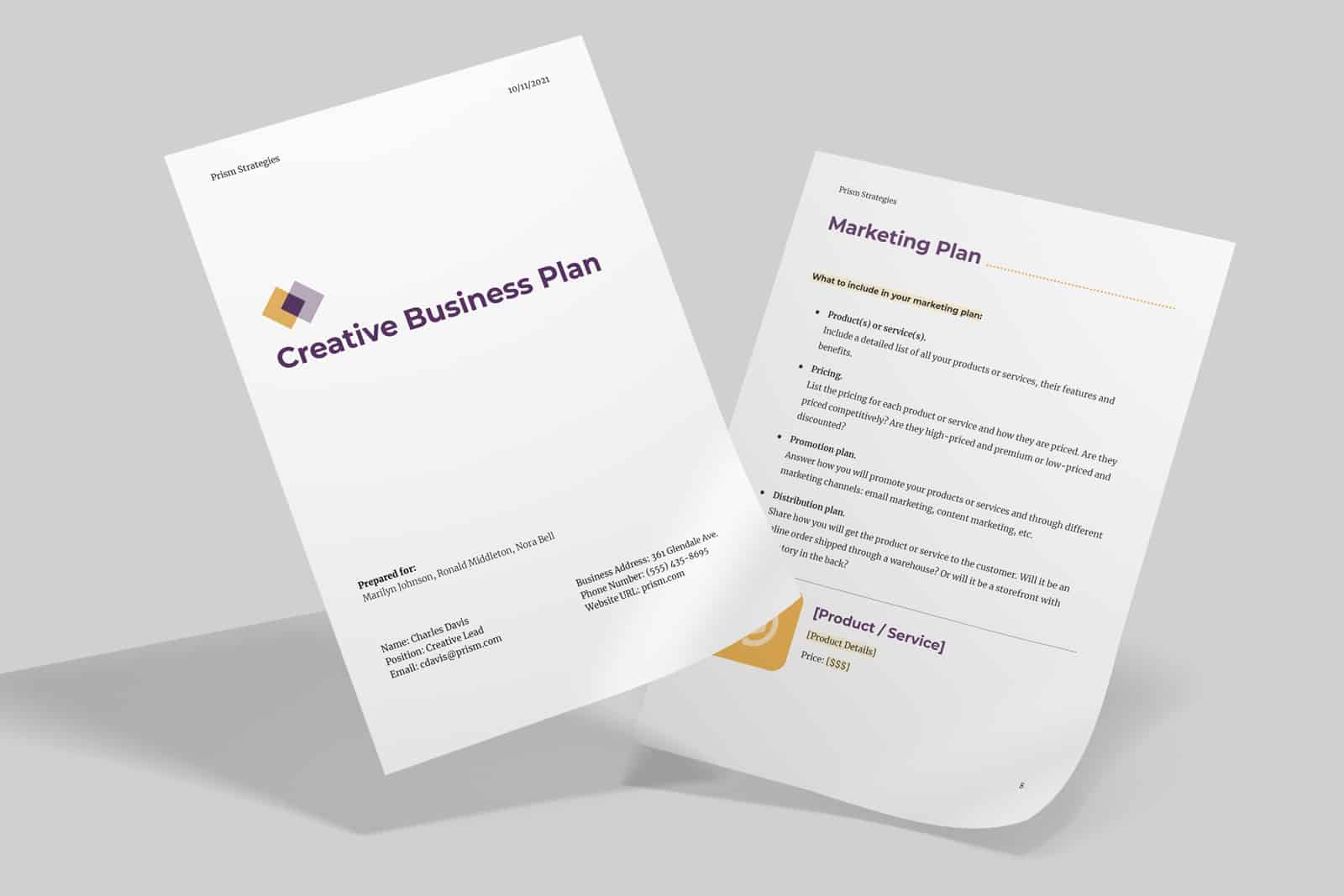 Creative business plan template preview