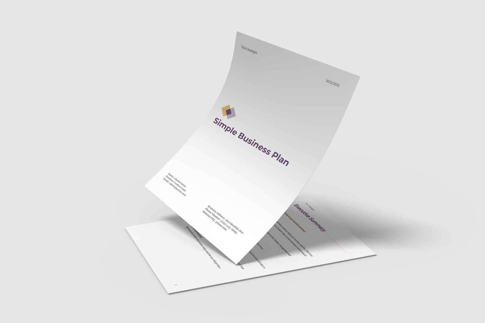 Simple business plan template preview