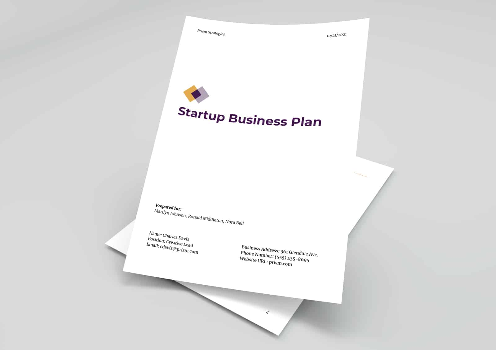 Startup business plan template preview