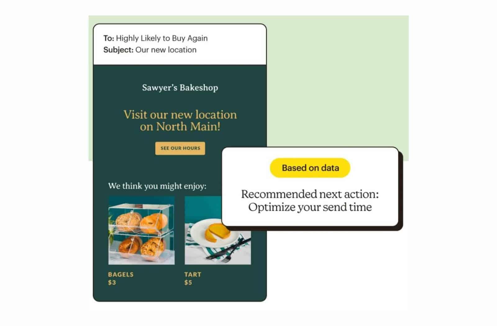 Mailchimp has a handy smart recommendation feature