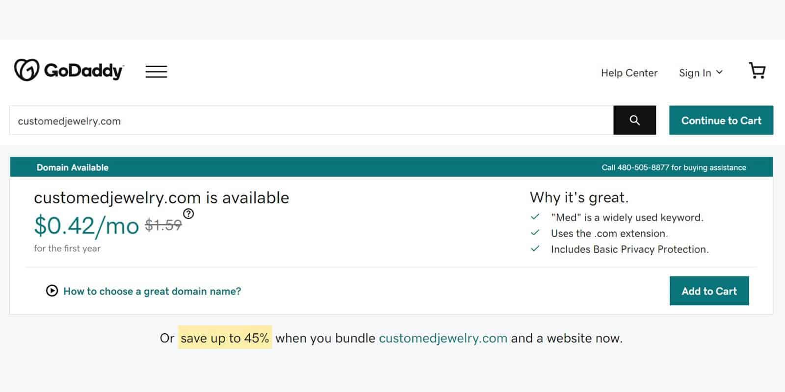 Verify domain name availability via a registrar