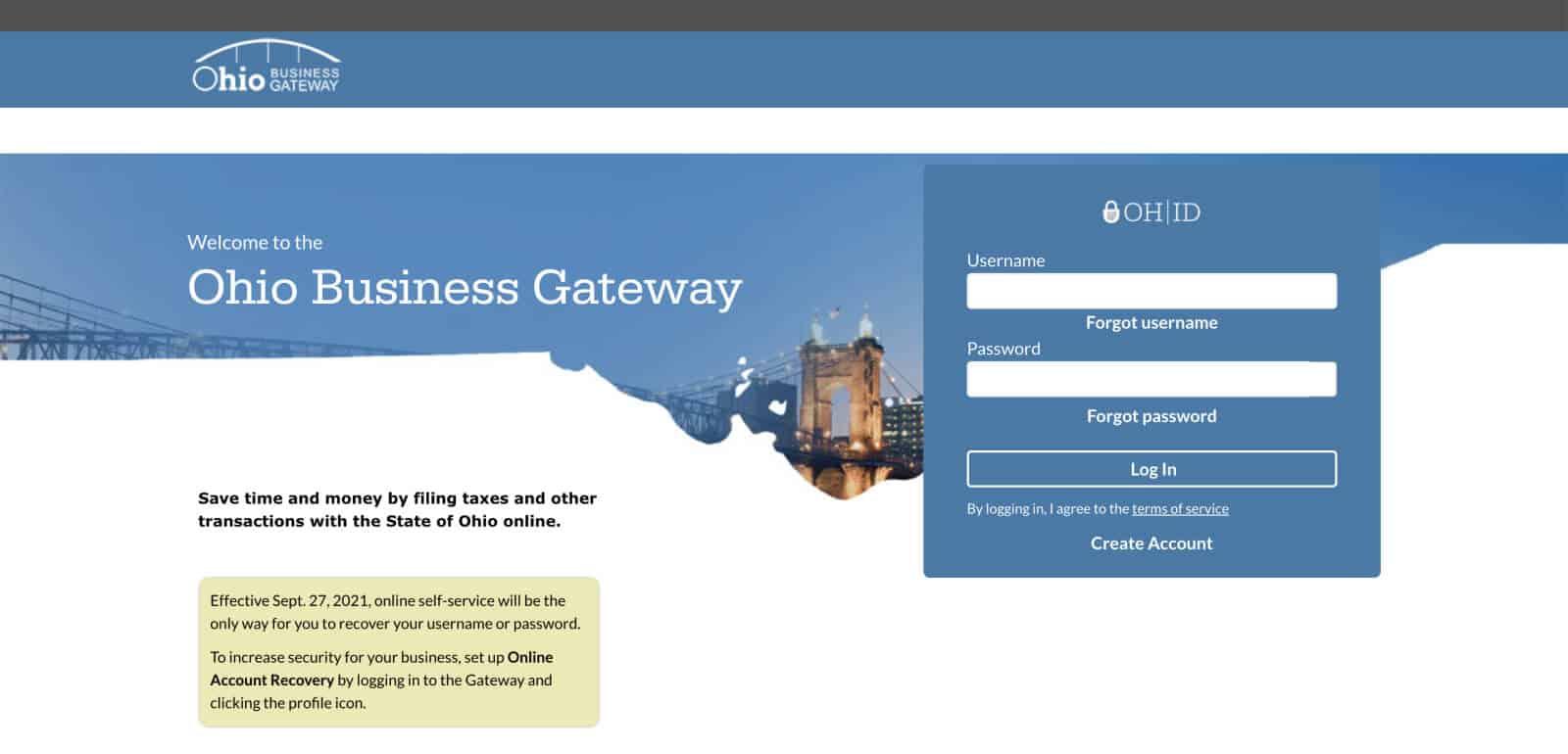Ohio Business Gateway landing page