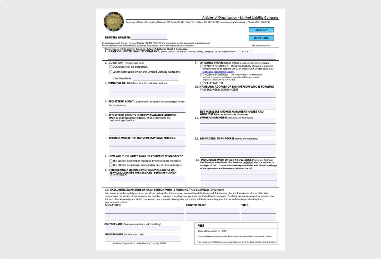 Oregon Articles of Organization filing form