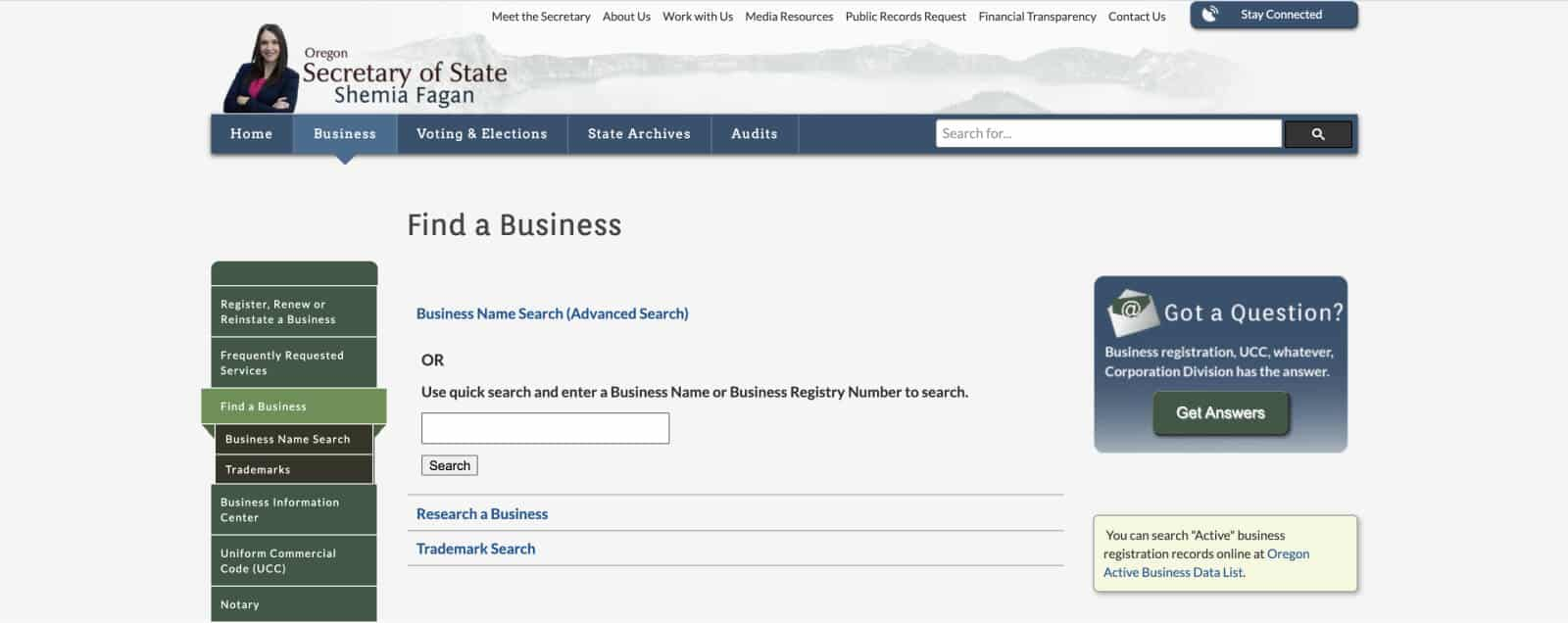 Oregon Secretary of State Business Name Search availability