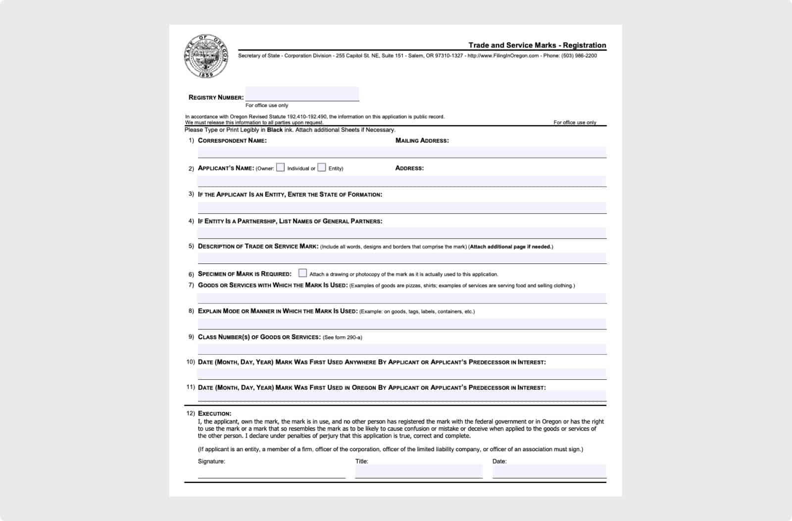 Registration form for trade and service marks