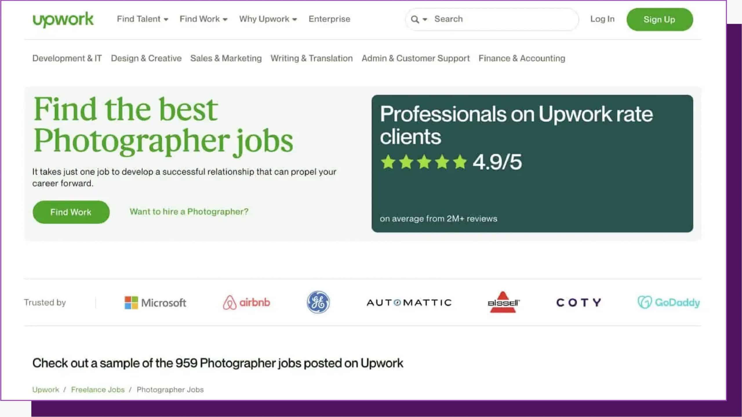 Photographer jobs on UpWork