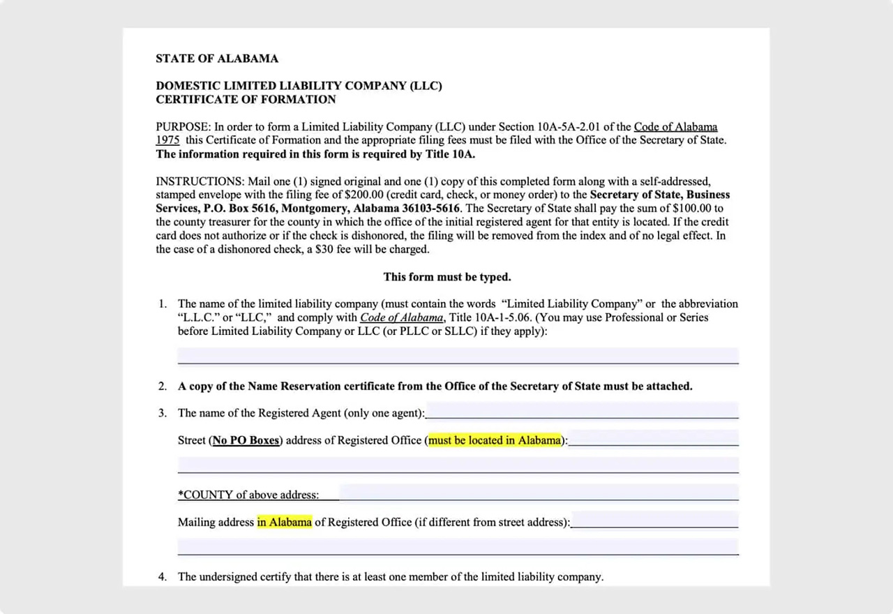 Alabama Certificate of Formation