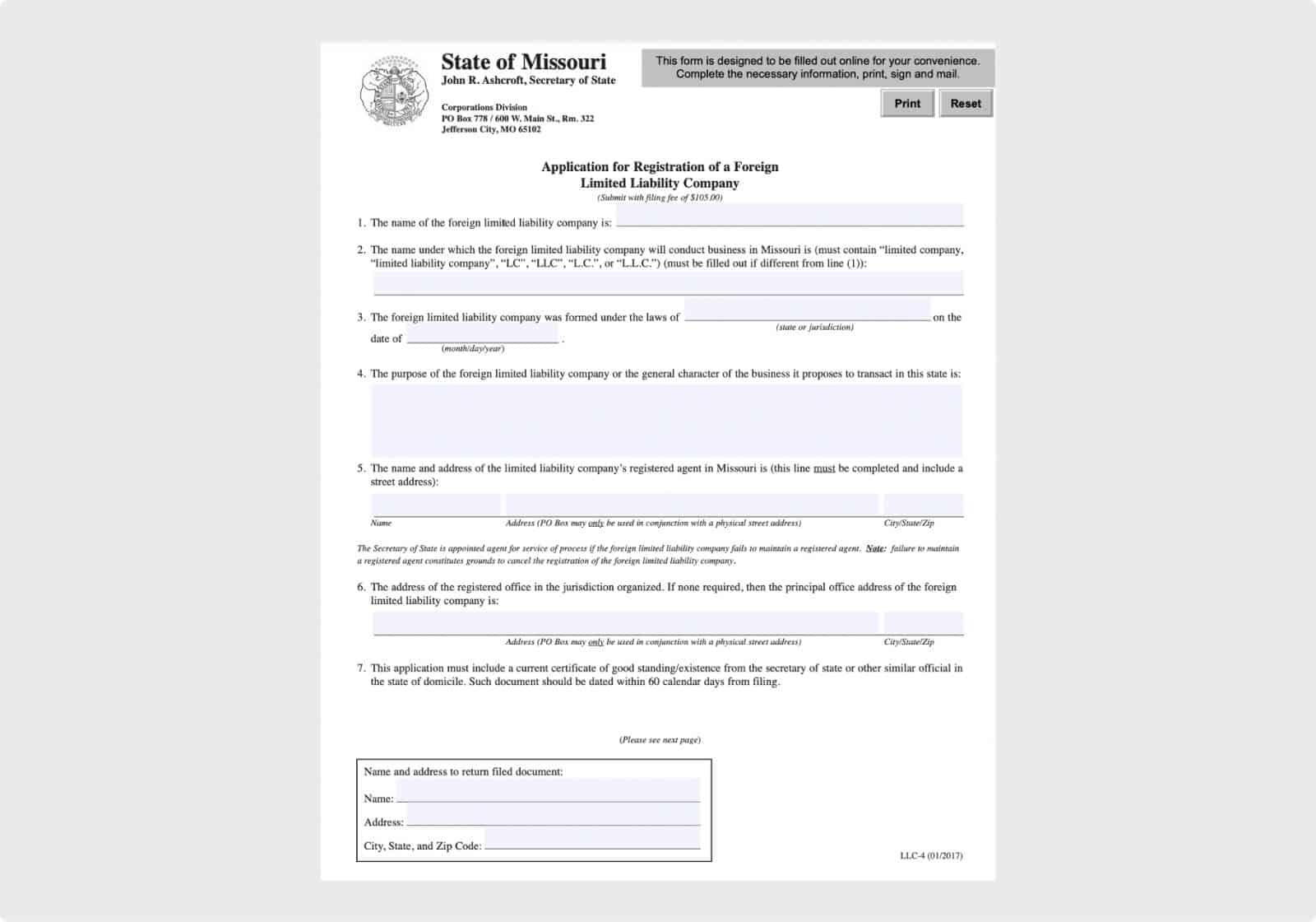 Application for Registration of a Foreign Limited Liability Company (page 1)
