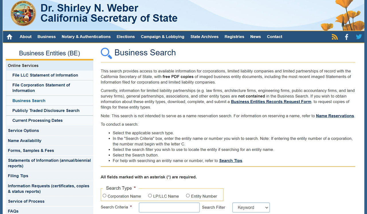 CA Secretary of State Business Search Function
