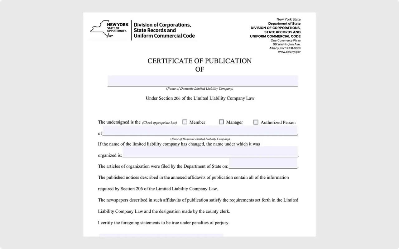 Certificate of Publication for New York LLCs October