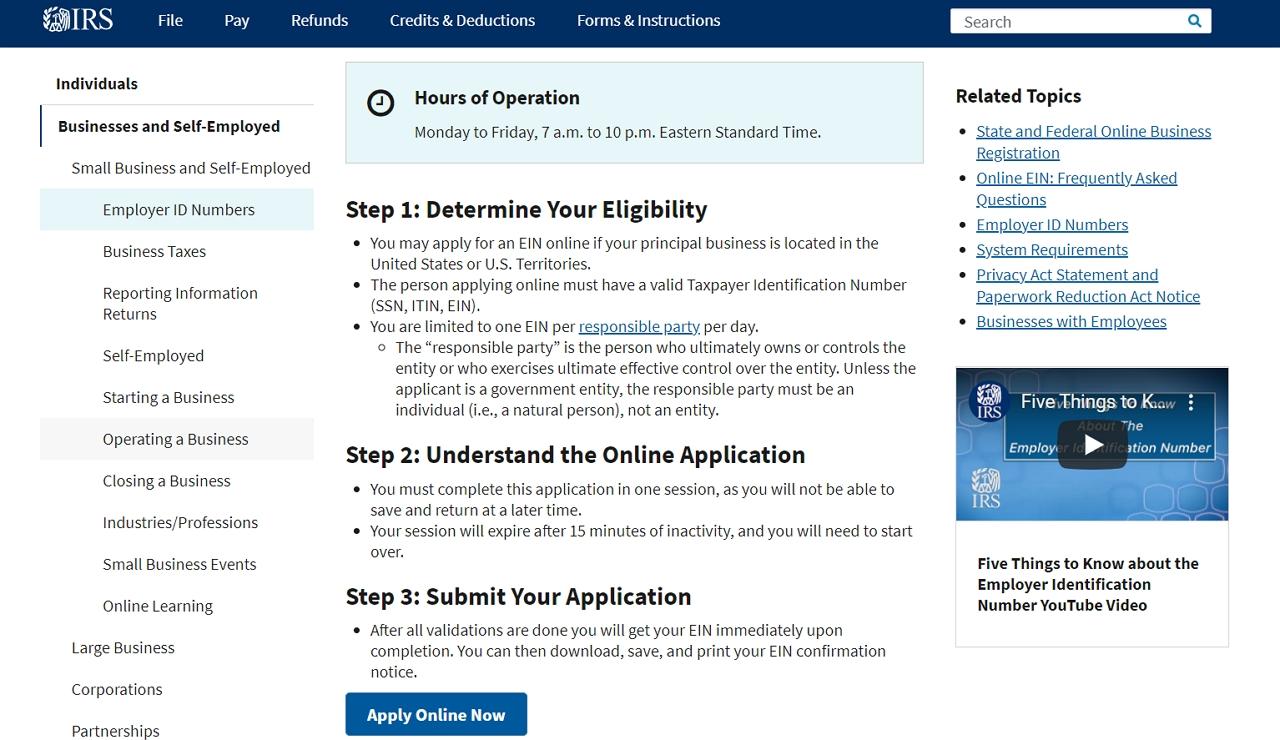 EIN Application for new LLC Alabama