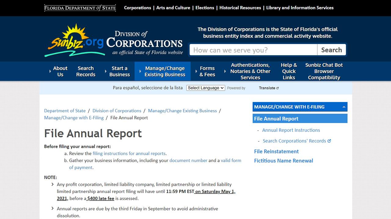 Florida Sunbiz LLC File Annual Report Portal