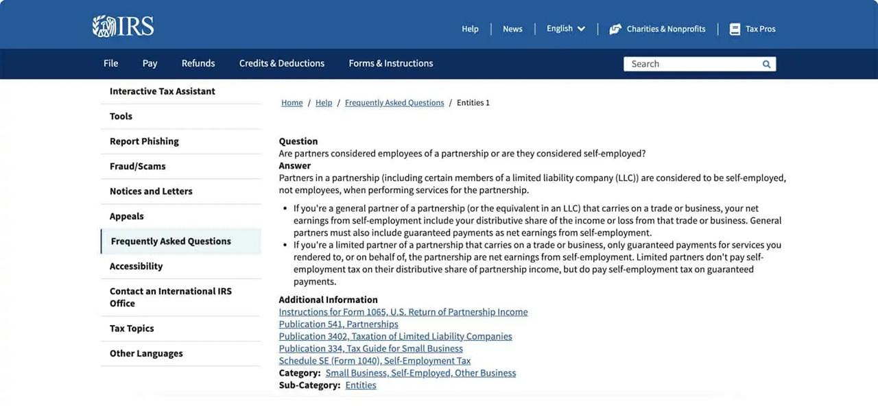 IRS-self-employed-taxes-for-partnerships-FAQ