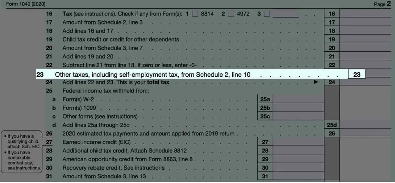 Line 23 on Form 1040 SE Tax