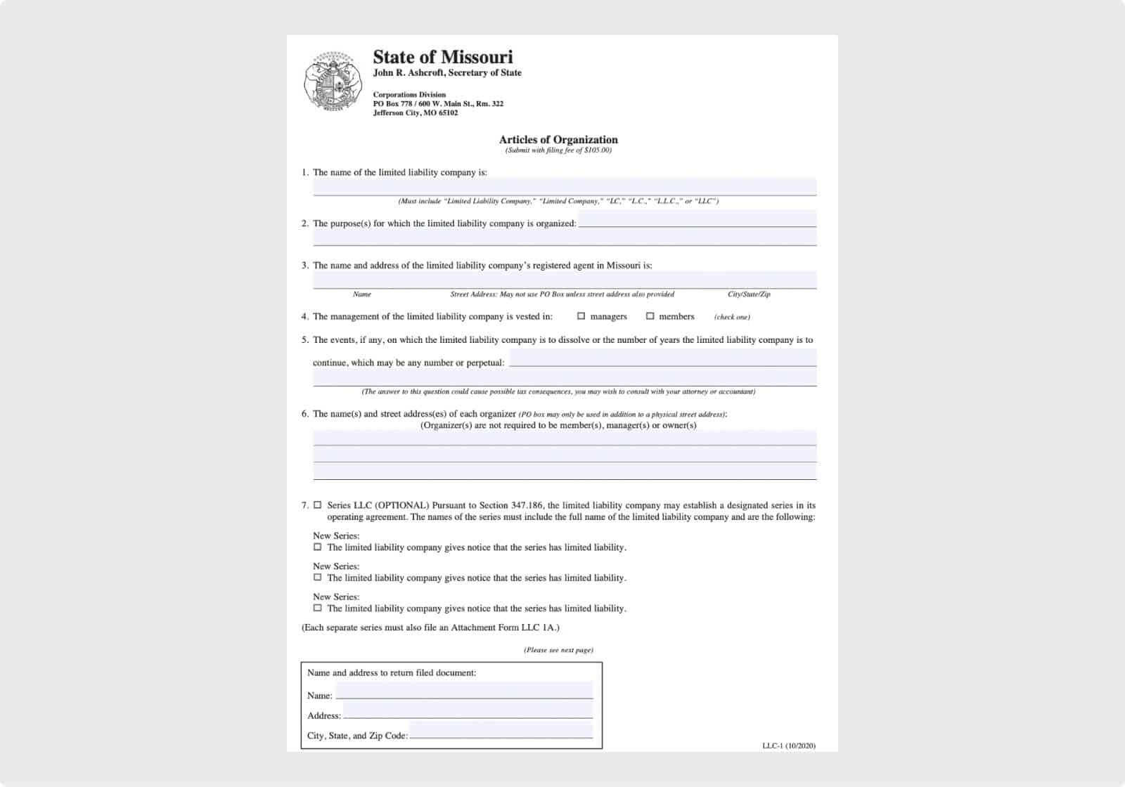 Missouri Articles of Organization (page 1)