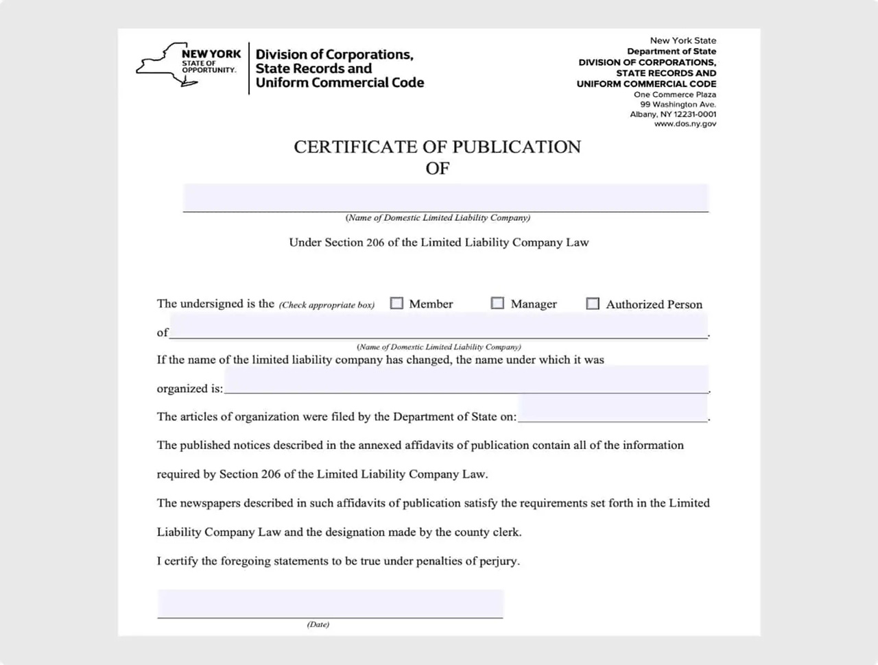 New LLCs in New York must complete the publication requirements form