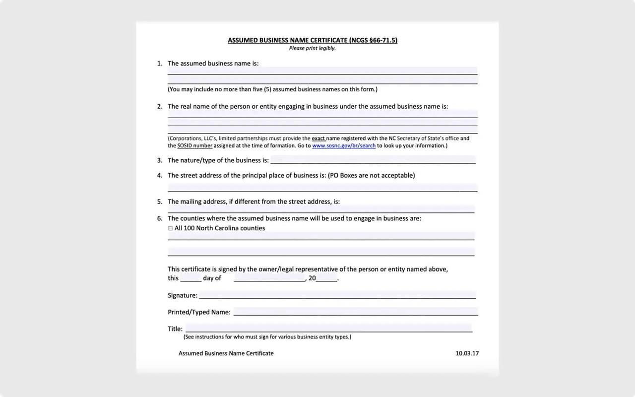 North Carolina Assumed Business Name Certificate form