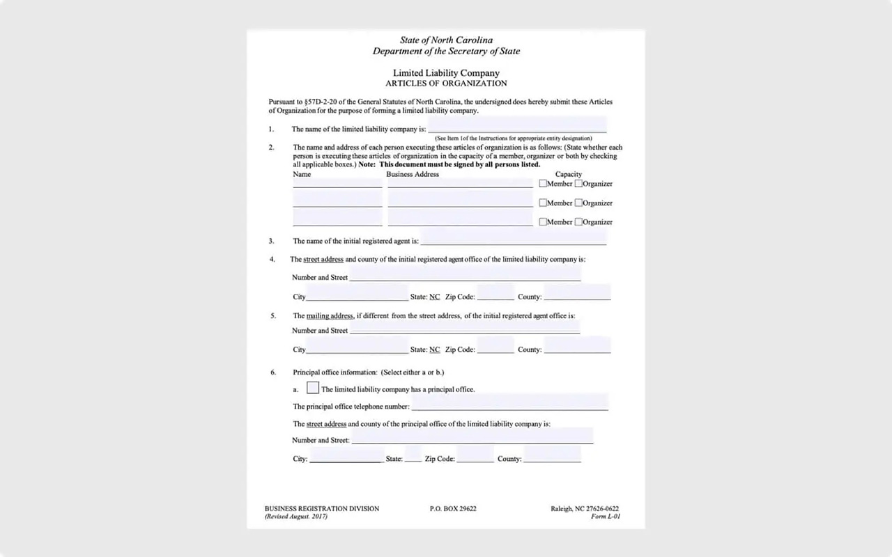 North Carolina Department of Secretary of State, Business Registration Division, Form for LLC Articles of Organization
