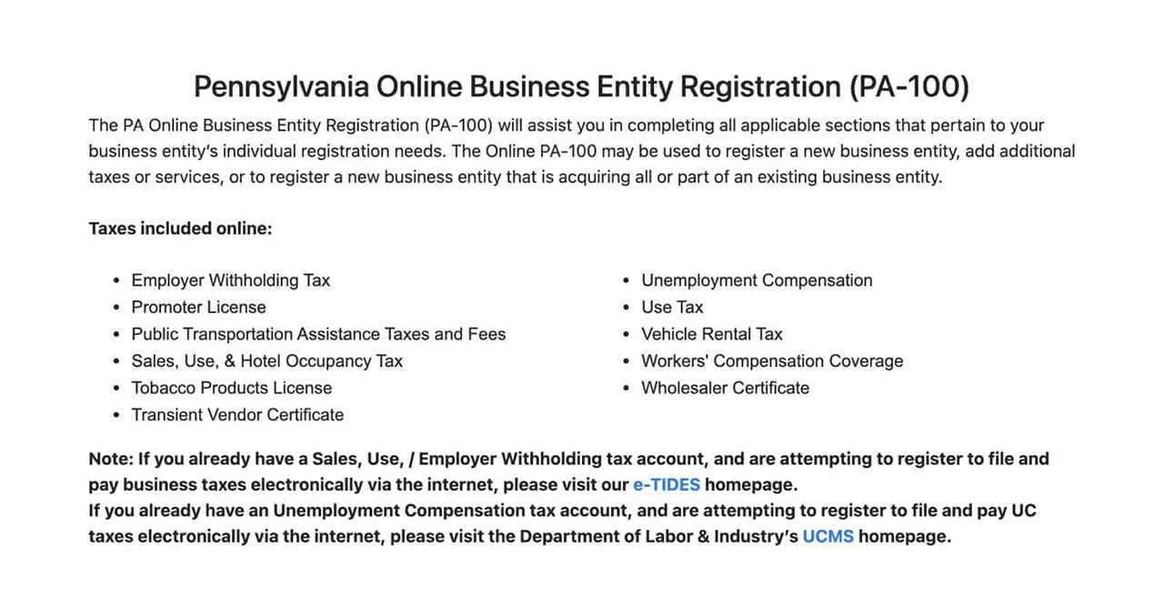 Overview of the Pennsylvania Online Business Entity Registration (PA-100)