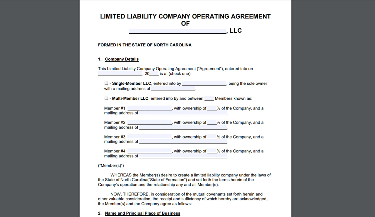 Prepare an LLC operating agreement