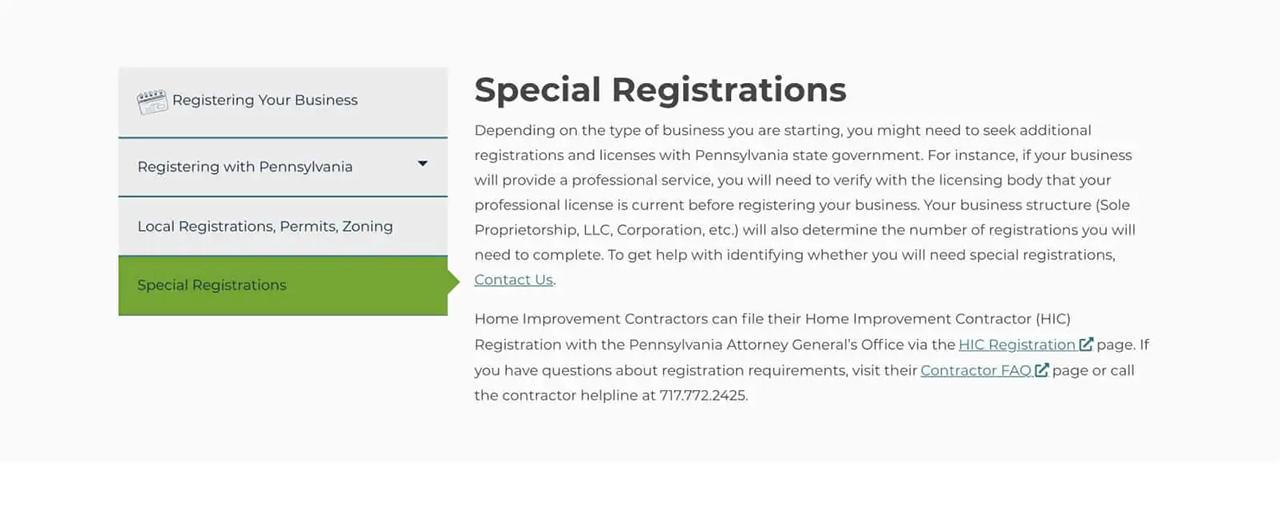 Special registrations