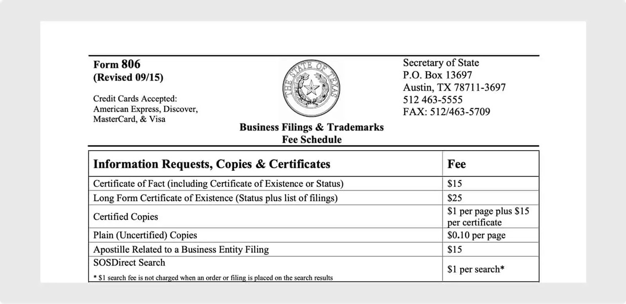 Texas Certified Document